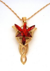 Lord of the Rings Arwen evenstar gold plated pendant necklace , prop replica